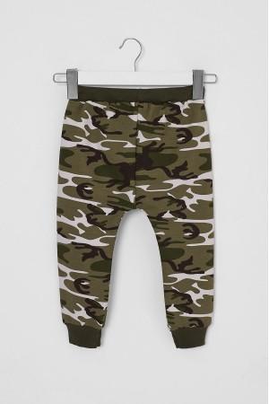 Boy's Tracksuit Single Bottom Camouflage Patterned Khaki