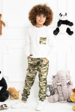 Boys Tracksuit Set Camouflage Patterned Ecru