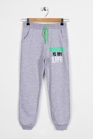 Boys Tracksuit Single Bottom Musik Printed Ages 5-8 Gray