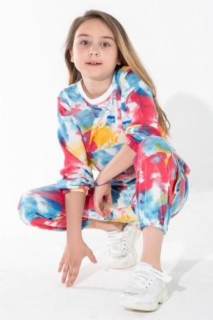 Girl's Tracksuit Set Batik Patterned