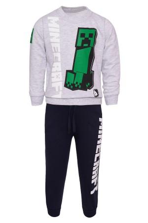 Boys Minecraft Printed Suit 5-8 Years Light Gray