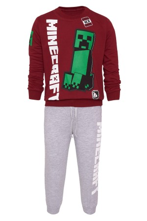 Boys Minecraft Printed Suit 5-8 Years Light Claret Red