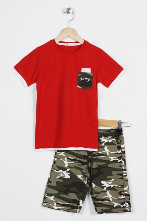 Boys Capris Suit With Pocket Camouflage Pattern 2-9 Years