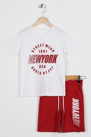 Boys' NewYork Printed Capris Suit 6-9 Years