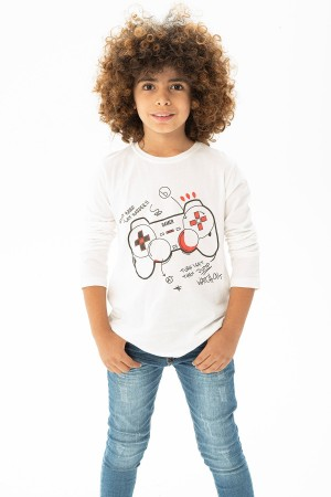 Men's Game Console Printed Long Sleeve Tshirt 5-8 Years