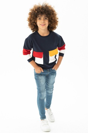 Boys' Front Double Pocket Detailed Sweat 6-12 Years