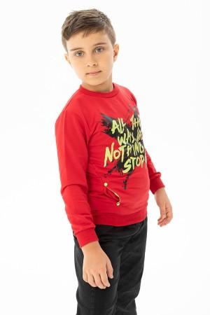 Boys' All The Way Printed Pocket Sweatshirt 3-7 Years