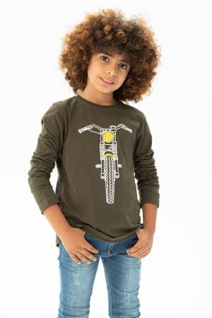 Men's Motor Printed Long Sleeve Crew Neck Tshirt 9-12 Age