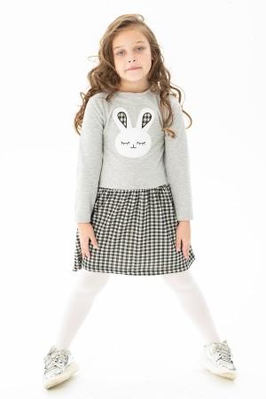 Girl Child Rabbit Embroidered Skirt Plaid Dress 2-5 Years