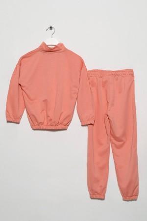 Girl's Zippered Elastic Waist Tracksuit Set 9-12 Age