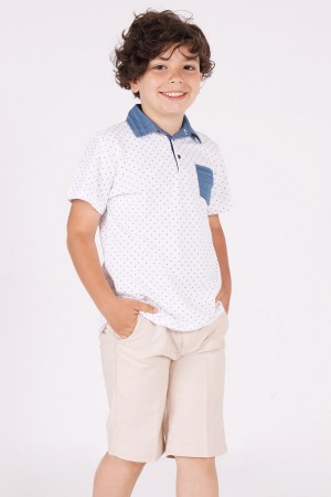 Boys T-Shirt Rudder Anchor Printed Denim Collar T