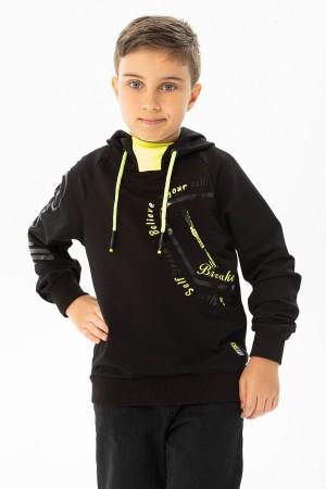 Boys Zipper Detailed Hooded Sweatshirt 7-15 Years