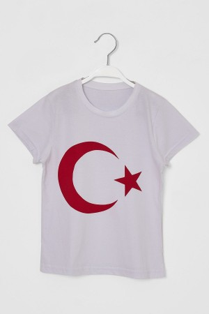 Turkish Flag T-Shirt Kids White 6-10 Years