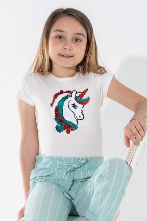 Girl Tsihrt Unicorn Sequin Embroidered 3-7 Years