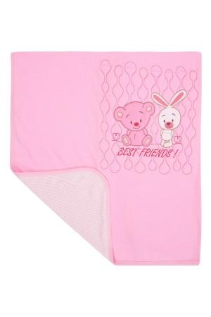Baby Blanket 89x90 Cm. Quilted Rabbit Pink