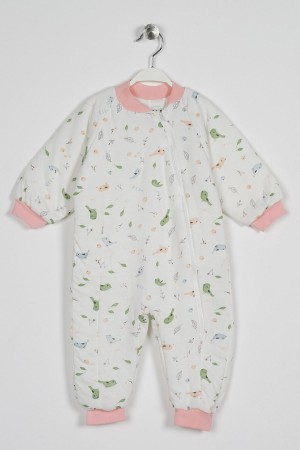 Unisex Zipper Detailed Fiber Filled Patterned Overalls 1-5 Years