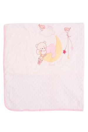 Baby Blanket 89x95 Cm. Teddy Bear Pattern Pink