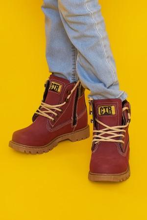 Boys Shoes Zipper Boots Claret Red