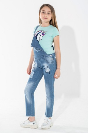 Girl's Trousers Salopet Sequin Star Embroidered