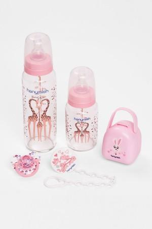 Newborn Girl Pacifier Set of 5 Pink