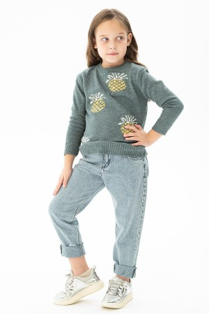 Girl Pineapple Printed Wool Knitwear Sweater 9-14 Years