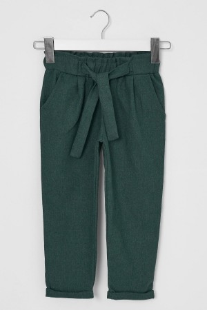 Girl's Trousers Belted Green