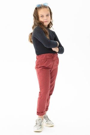 Girl's Trousers Belted Claret Red