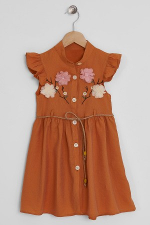 Girls Dress Embroidered Floral Detail Ages 3-10