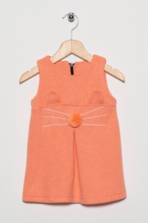 Girl Child Cat Face Patterned Applique Dress 2-5 Years