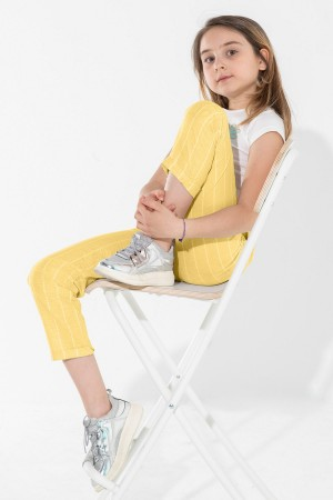 Girls Thick Striped Trousers Ages 5-12