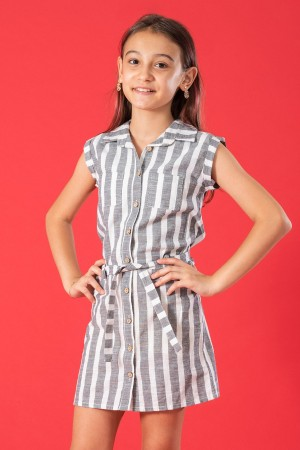 Girls Striped Dress Front Pocket Detail 5-8 Years