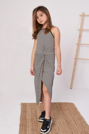 Girl's Pleated Dress Line Patterned 9-12 Years