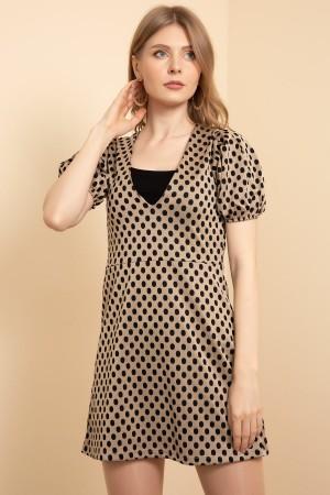 V-Neck Polka Dot Dress
