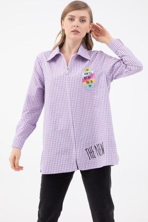Zipper Plaid Shirt