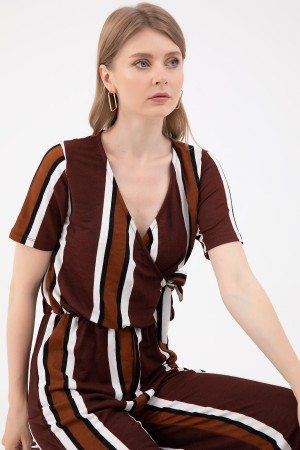 Double Breasted Striped Jumpsuit