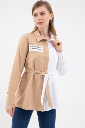 Two Color Belted Shirt