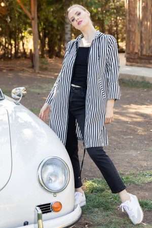 Striped Hooded Trench
