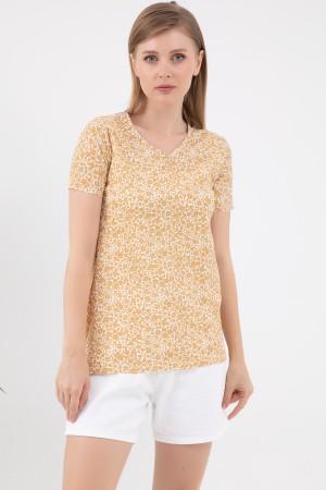 V-Neck Patterned T-Shirt