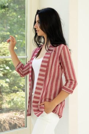 Striped Capri Sleeve Jacket