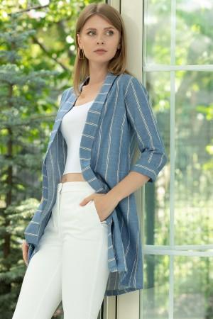Striped Shawl Collar Long Jacket