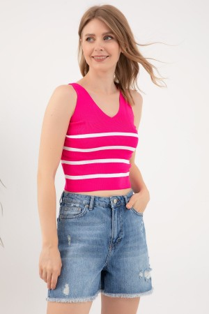 V-Neck Striped Knitwear Singlet