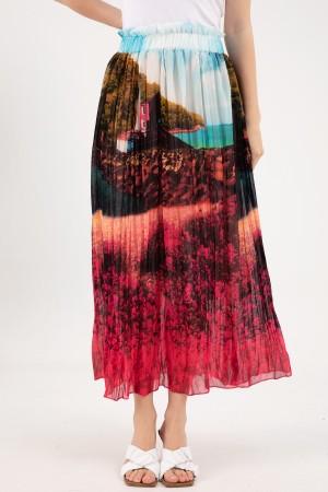 Patterned Chiffon Skirt