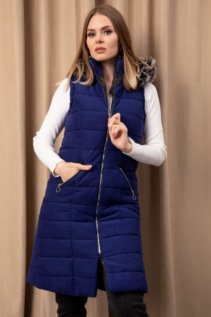 Hooded Suede Inflatable Vest