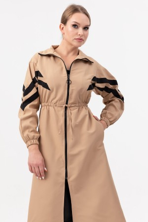 Sleeve Detailed Long Trench