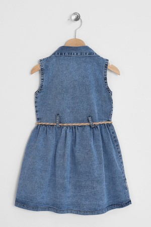 Girl Jeans Dress With Flower Embroidery 6-9 Years
