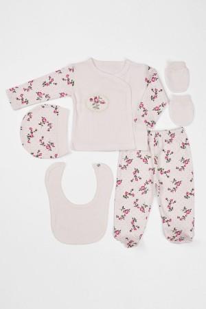 Baby Girl 5 Piece Set Flower Patterned Ecru