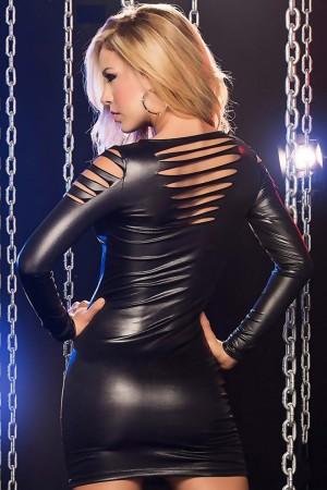 Laser Cut Mini Leather Dress