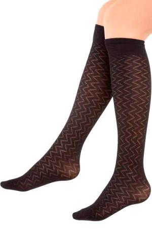 Micro Knee High Socks River Pattern Black