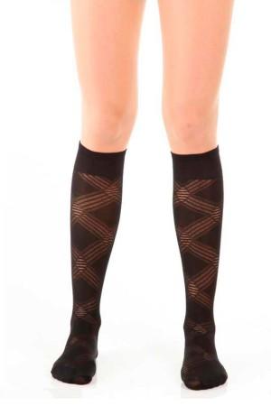 Micro Knee High Socks Island Pattern Black