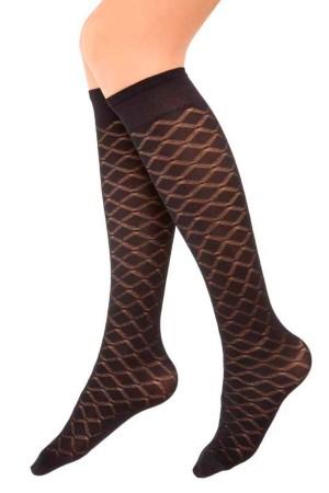 Micro Knee High Socks Emerald Pattern Black
